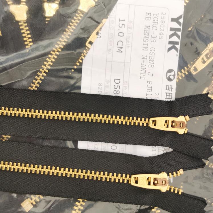 ykk3号金铜闭口,黄铜裤子拉链
